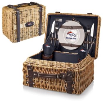 Picnic Time Denver Broncos Champion Willow Picnic Basket with Service for 2