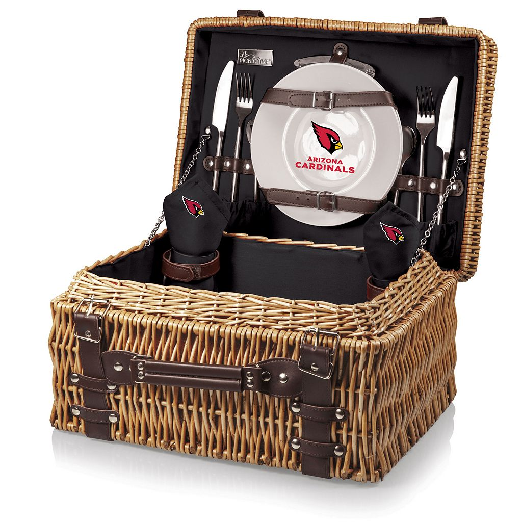 Picnic Time Arizona Cardinals Champion Willow Picnic Basket with Service for 2