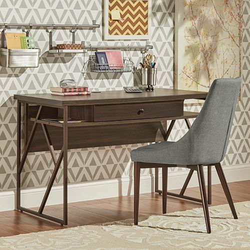 HomeVance Adelaide Geometric Side Cutout Desk