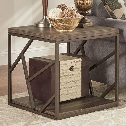 Kohl S Foyer Table : Homevance adelaide geometric side cutout end table