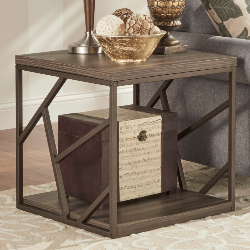 HomeVance Adelaide Geometric Side Cutout End Table, Brown
