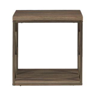 HomeVance Adelaide Geometric Side Cutout End Table