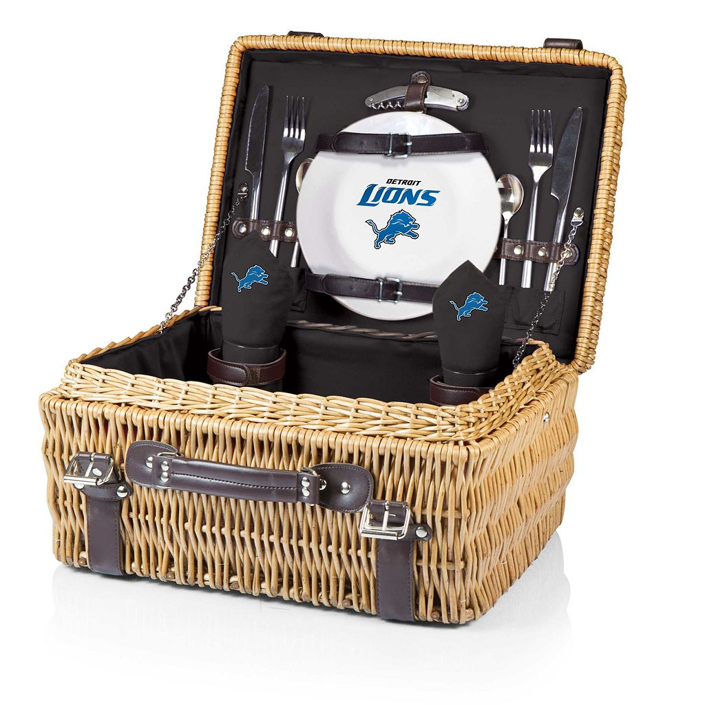 Picnic Time Detroit Lions Champion Willow Picnic Basket with Service for 2