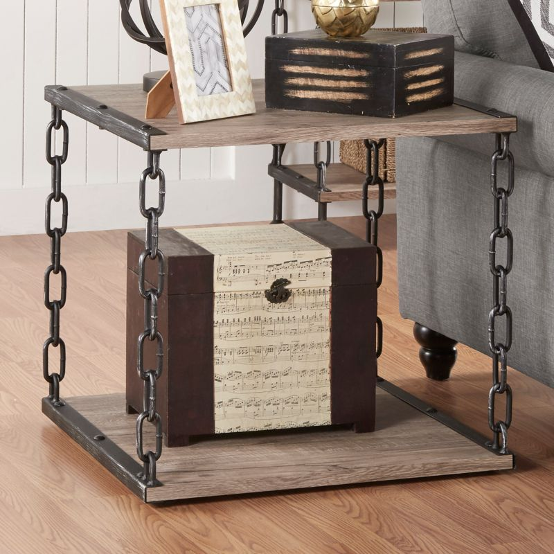 HomeVance Jessa Chain Detail End Table, Brown