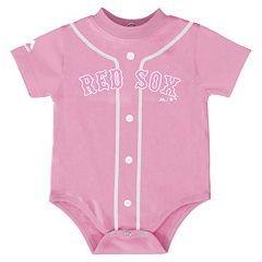 Baby Majestic Boston Red Sox Pink Jersey Bodysuit