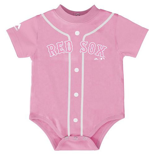 Baby Majestic Boston Red Sox Pink Jersey Bodysuit