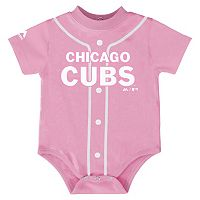 Baby Majestic Chicago Cubs Pink Jersey Bodysuit