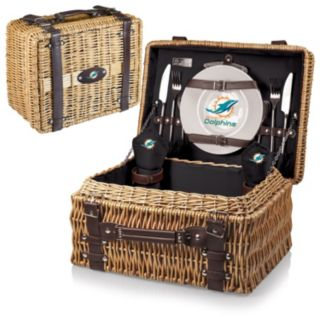 Picnic Time Miami Dolphins Champion Willow Picnic Basket with Service for 2