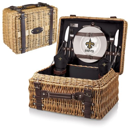Picnic Time New Orleans Saints Champion Willow Picnic Basket with Service for 2