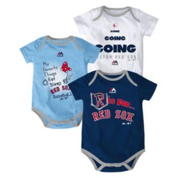 Baby Majestic Boston Red Sox Baseball Baby 3-Piece Bodysuit Set