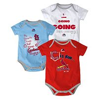 Baby Majestic St. Louis Cardinals Baseball Baby 3-Piece Bodysuit Set