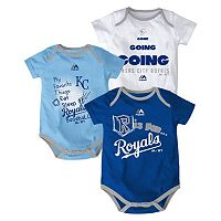 Baby Majestic Kansas City Royals Baseball Baby 3-Piece Bodysuit Set