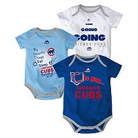 Baby Majestic Chicago Cubs Baseball Baby 3-Piece Bodysuit Set