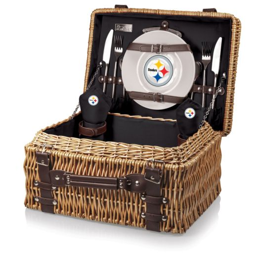 Picnic Time Pittsburgh Steelers Champion Willow Picnic Basket with Service for 2