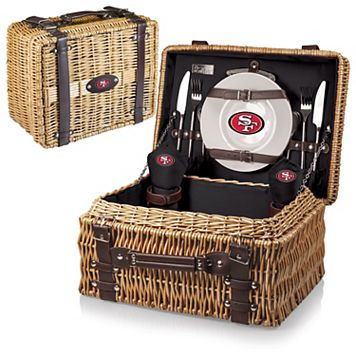 Picnic Time San Francisco 49ers Champion Willow Picnic Basket with Service for 2