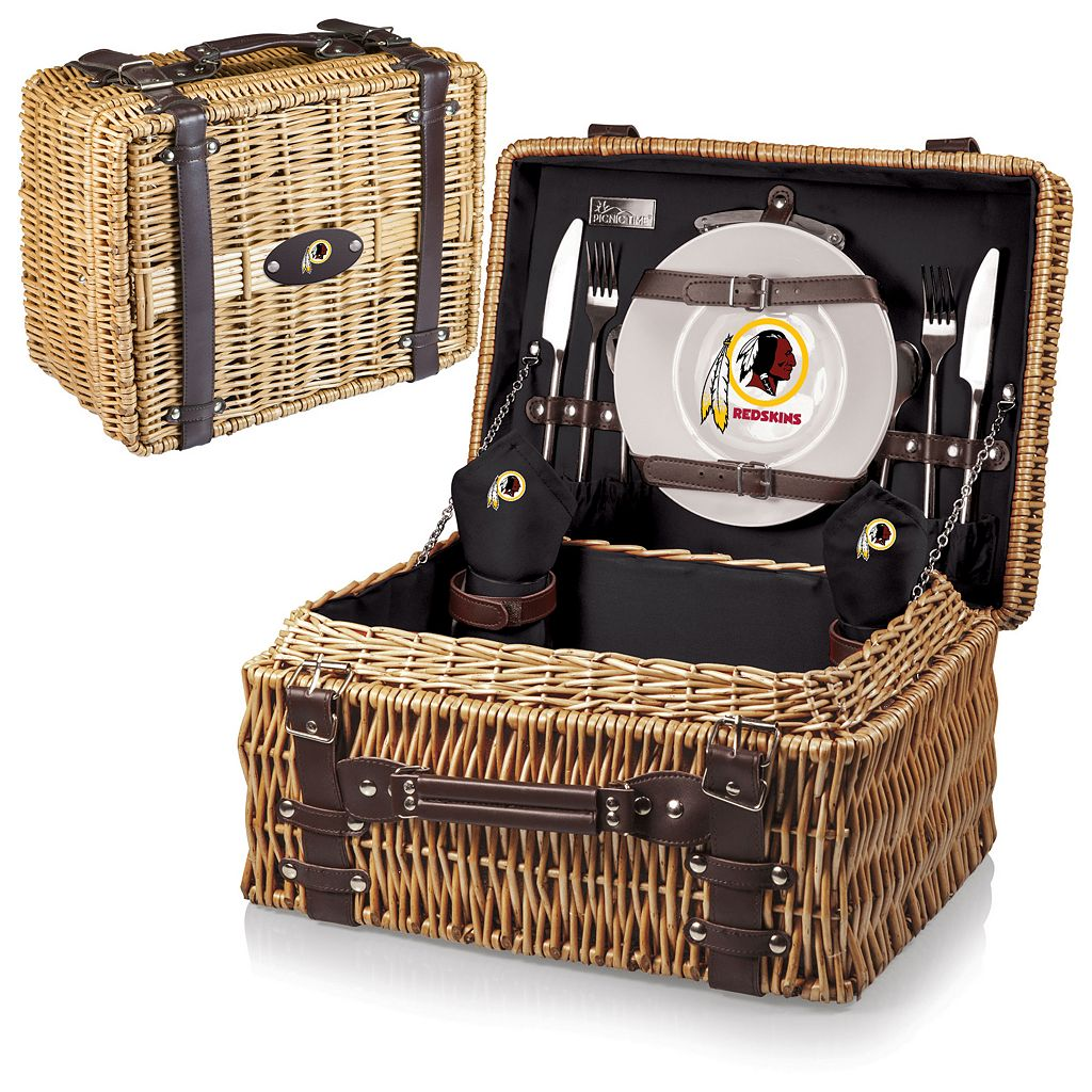 Picnic Time Washington Redskins Champion Willow Picnic Basket with Service for 2