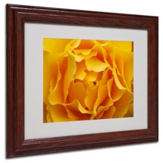 ''Hypnotic Yellow Rose'' Brown Framed Wall Art