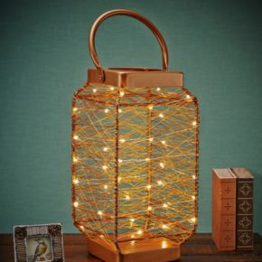 Elements Metallic String LED Light Lantern