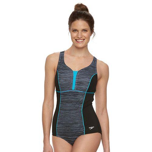 7410730918 Women's Speedo Touchback Space-Dye One-Piece Swimsuit