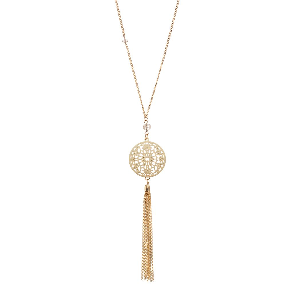 LC Lauren Conrad Openwork Disc Tassel Necklace