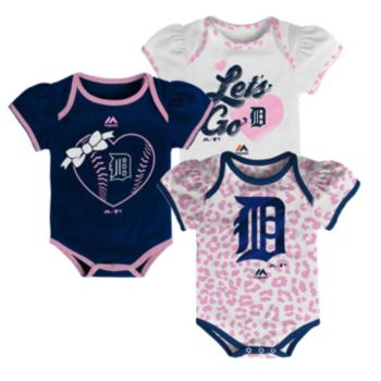 Baby Majestic Detroit Tigers Wild Pitch 3-Piece Bodysuit Set