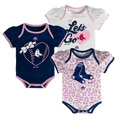 Baby Majestic Boston Red Sox Wild Pitch 3-Piece Bodysuit Set