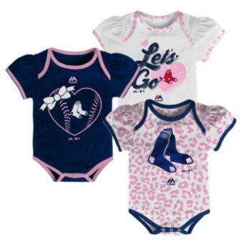 Baby Majestic Boston Red Sox Wild Pitch 3-Piece Bodysuit Set
