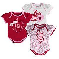 Baby Majestic St. Louis Cardinals Wild Pitch 3-Piece Bodysuit Set