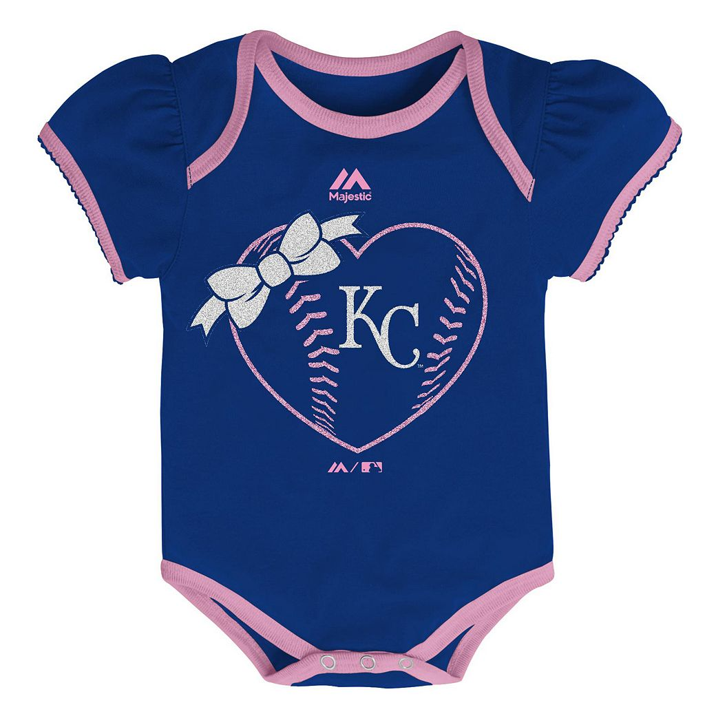 Baby Majestic Kansas City Royals Wild Pitch 3-Piece Bodysuit Set