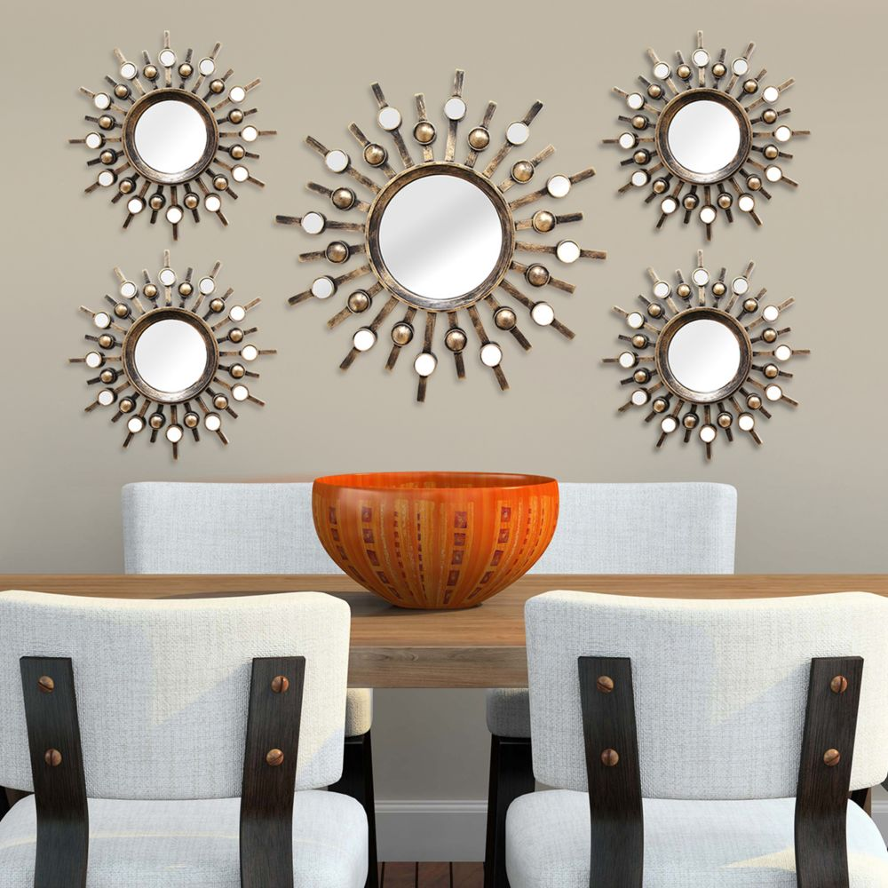 Metal Wall Art Decor Fascinating Home Decor Sunburst Mirror Metal Wall Art 5Piece Set Decorating Inspiration