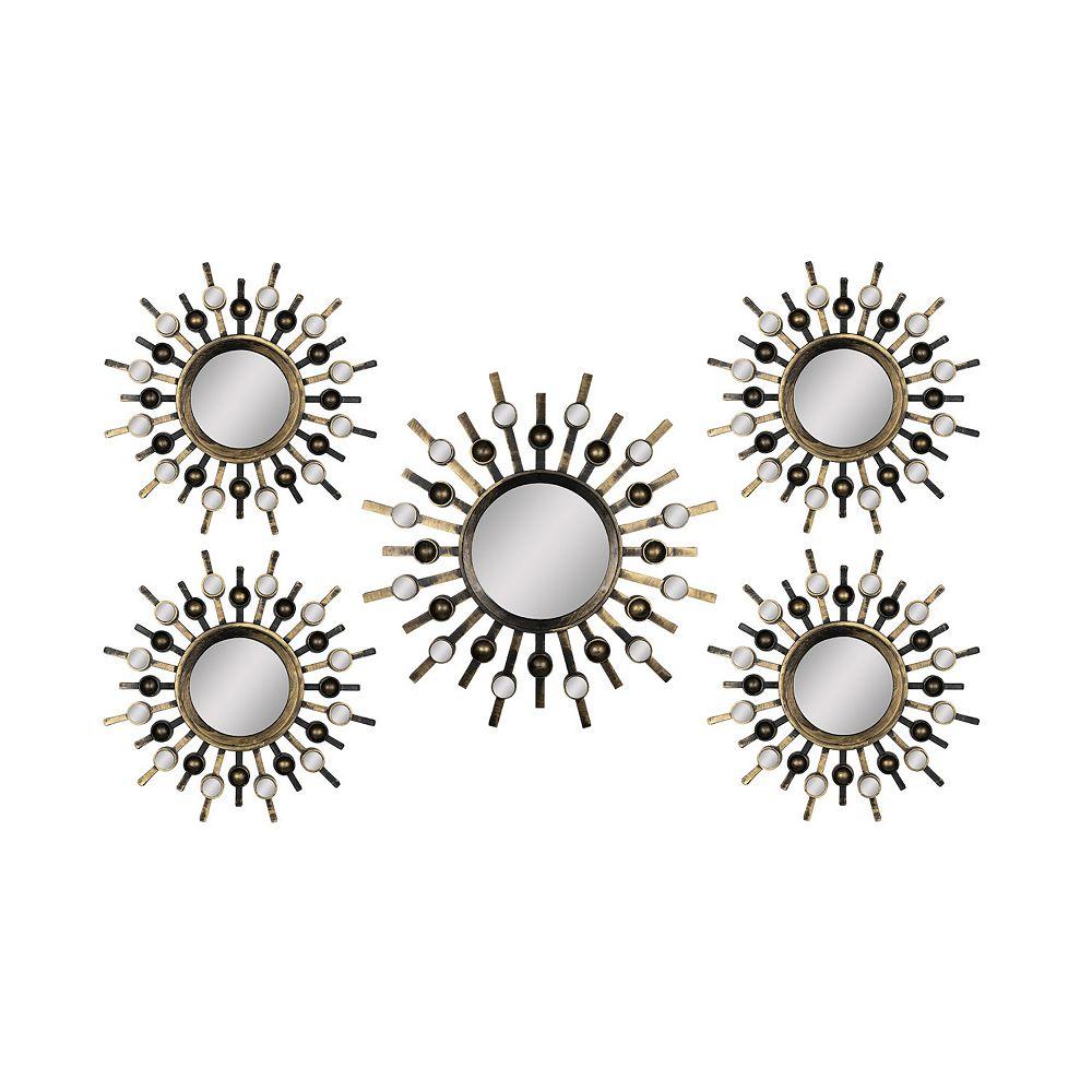 Home Decor Sunburst Mirror Metal Wall Art 5-piece Set