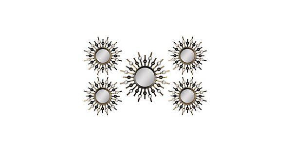 Wall Decor Store: Stratton Home Decor Sunburst Mirror Metal Wall Art 5-piece Set