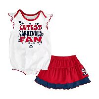 Baby Majestic St. Louis Cardinals Cute Fan Bodysuit & Skirt Set