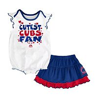 Baby Majestic Chicago Cubs Cute Fan Bodysuit & Skirt Set