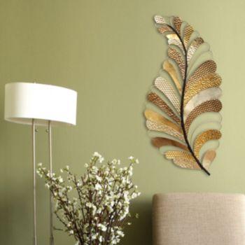 Stratton Home Decor Textured Leaf Metal Wall Art