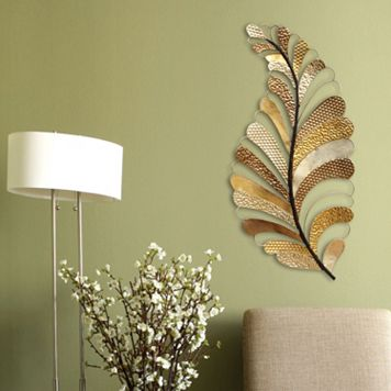 Stratton Home Decor Textured Leaf Metal Wall Art