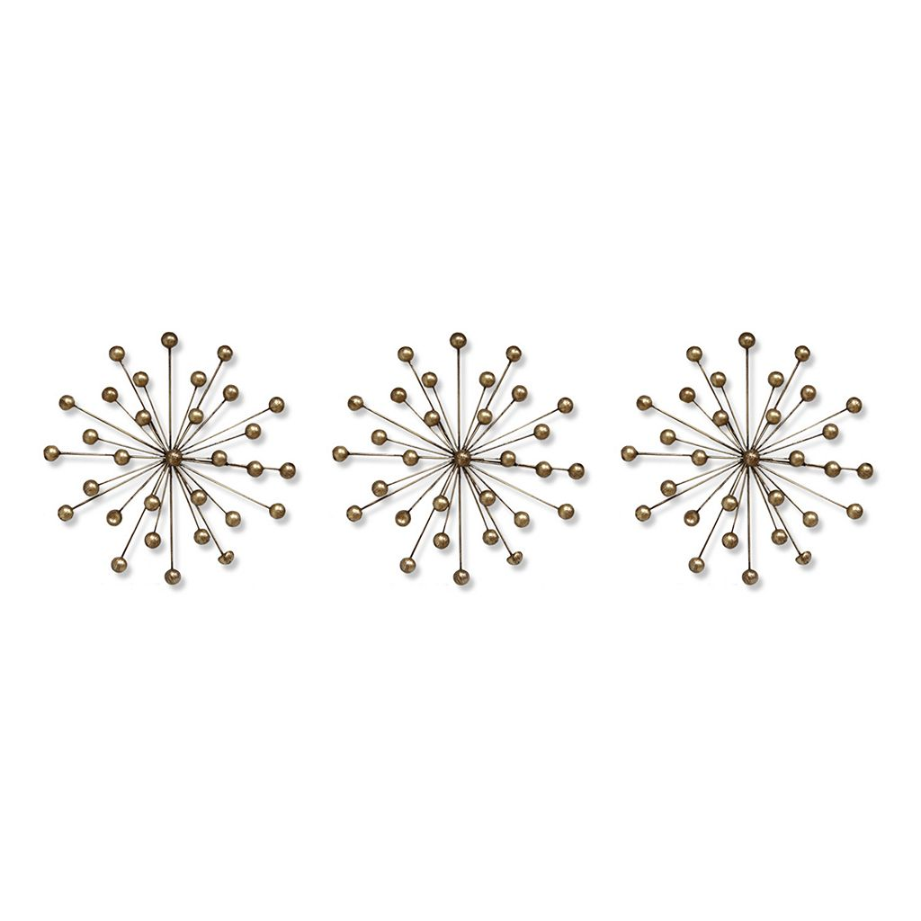Stratton Home Decor Sunburst Metal Wall Art 3-piece Set