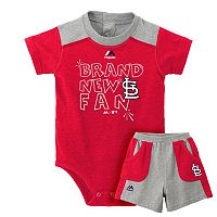 Baby Majestic St. Louis Cardinals Brand New Fan Bodysuit & Shorts Set