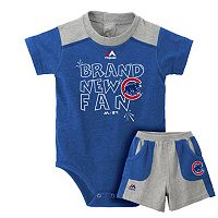 Baby Majestic Chicago Cubs Brand New Fan Bodysuit & Shorts Set