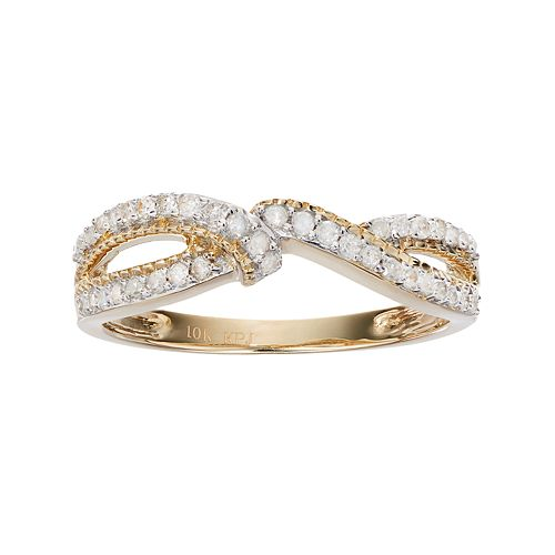 10k Gold 1/4 Carat T.W. Diamond Twist Ring