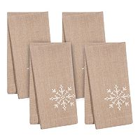 KAF HOME Snowflake Holiday 4 pc Napkin Set