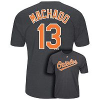 Men's Majestic Baltimore Orioles Manny Machado Player Name and Number Synthetic Tee