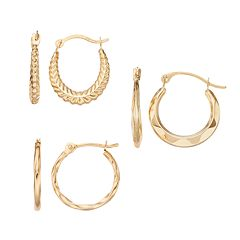 14k Gold Hoop Earring Set