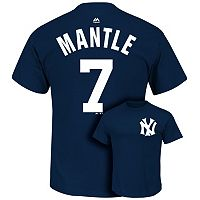 Men's Majestic New York Yankees Mickey Mantle Cooperstown Player Name and Number Tee