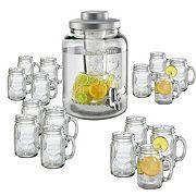 Artland 17 pc Mason Jar Beverage Dispenser & Mug Set