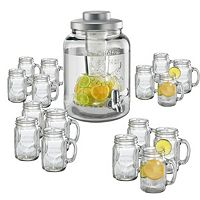 Artland 17-pc. Mason Jar Beverage Dispenser & Mug Set