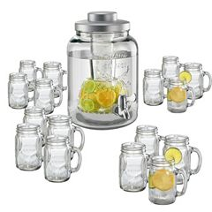 Artland 17 pc Mason Jar Beverage Dispenser & Mug Set