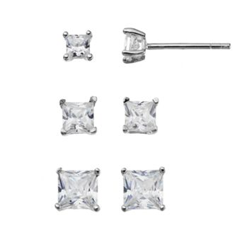 Sterling Silver Cubic Zirconia Square Stud Earring Set