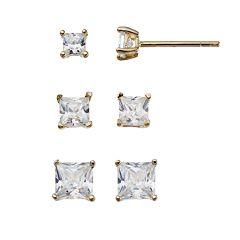 14k Gold Vermeil Cubic Zirconia Square Stud Earring Set