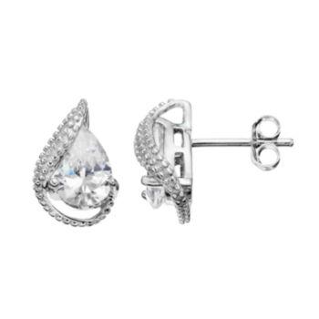 Sterling Silver Cubic Zirconia Teardrop Earrings